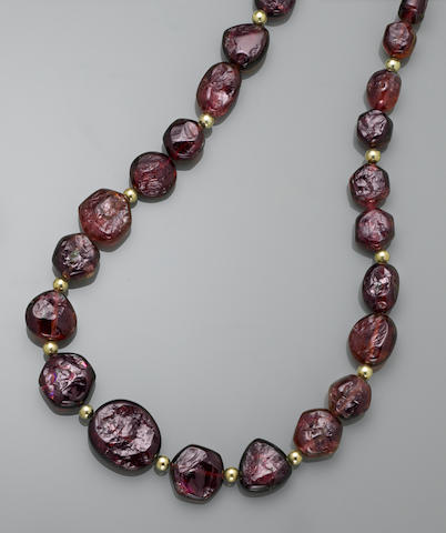 Very Fine Rubellite Nugget and Watermelon Tourmaline Necklace