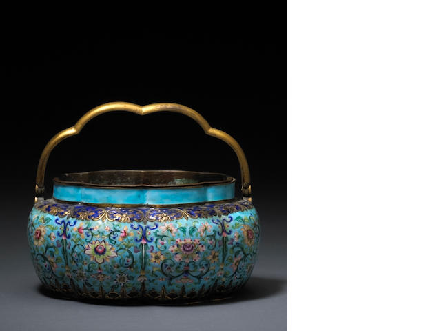 A Canton enamel and gilt metal jardinière