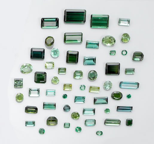 Group of Blue and Green Tourmalines