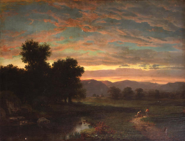 Hudson River School Two figures on a country path at sunset 26 x 36in