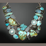 Unique Multi-gem-set Bib Necklace