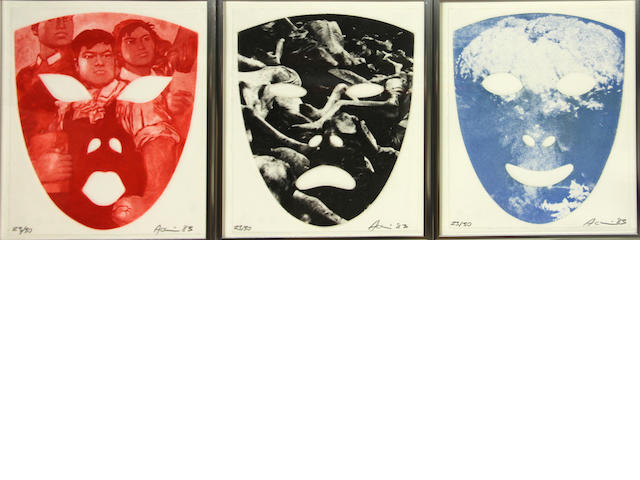 Vito Acconci (American, born 1940); Red Mask, People Mask, End Mask;