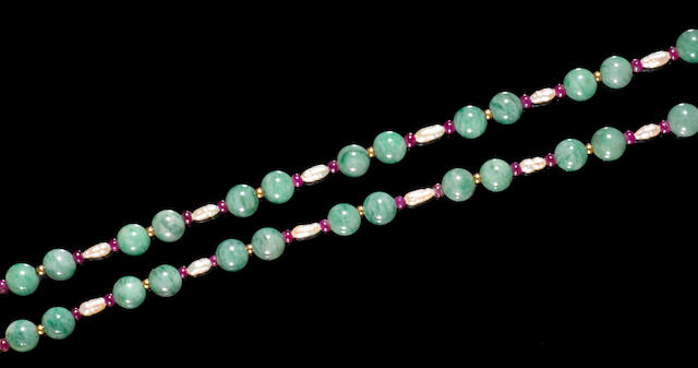 Jadeite, Ruby, and Pearl Necklace