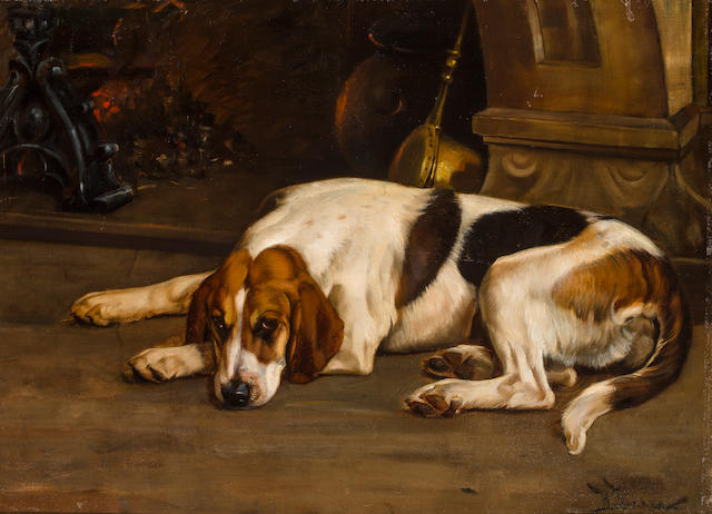 Wright Barker (British, 1863-1941) Foxhound by the hearth 23 3/4 x 32 1/4 in. (60.4 x 81.9 cm.)