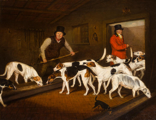 Henry Bernard Chalon (British, 1770-1849) Earl of Darlington's Kennel 28 x 36 in. (71.1 x 91.4 cm.)