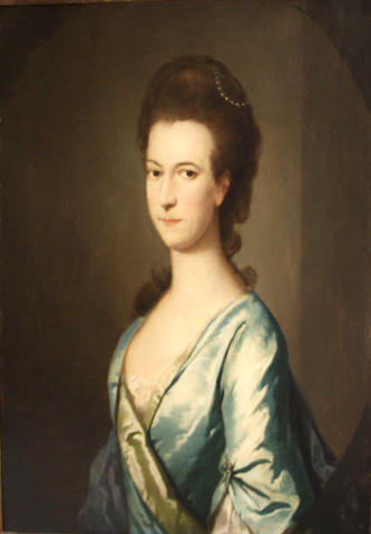 Circle of Sir Joshua Reynolds (Plympton 1723-1792 London) A portrait of a lady in blue, thought to be Wilhemina, wife of Sir John Shelley, 5th Baronet 30 x 24 3/4in