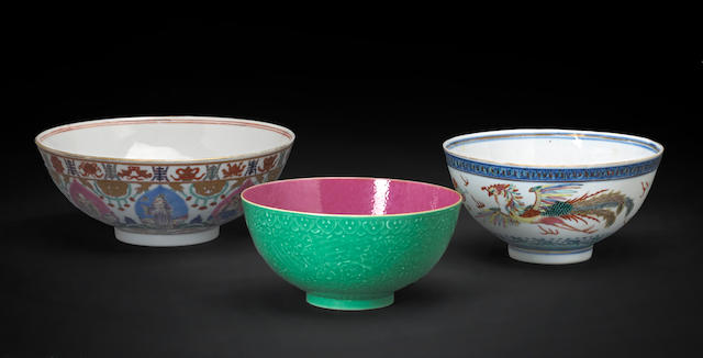 A group of three polychrome enameled porcelain bowls