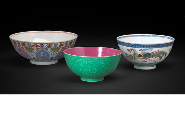 Three porcelain bowls; comprising a dragon bowl, Guang xu mark; a bargain tumid style bowl, modern; and a green glazed eggshell porcelain bowl.