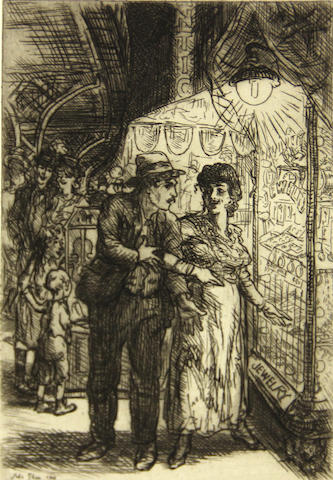 John Sloan (American, 1871-1951); Jewelry Store Window (Carlotta's Indecision);
