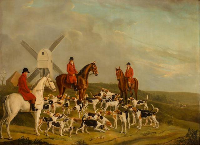 William Novice (British, 19th century) The meet 37 3/4 x 51 1/4 in. (96.2 x 130.2 cm.)