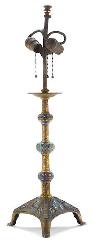 An American gilt bronze champlevé enamel table lamp<BR />Edward F. Caldwell & Co, New York<BR />first quarter 20th century