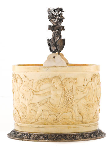 A German ivory silver mounted bucket<BR />19th century