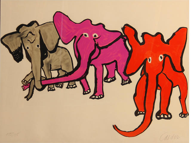 Alexander Calder (American, 1898-1976); **Verify with Calder Foundation * ON INSPECTION *  Elephants, from Our Unfinished Revolution;