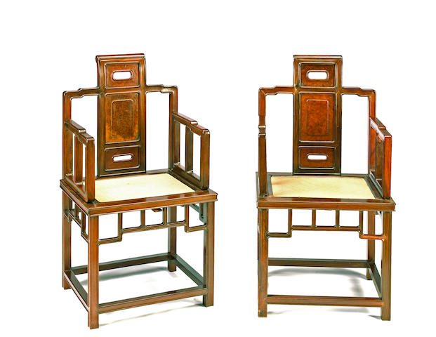 A pair of hardwood chairs 20th century