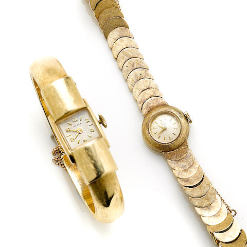 A group of two ladies 14k gold watches