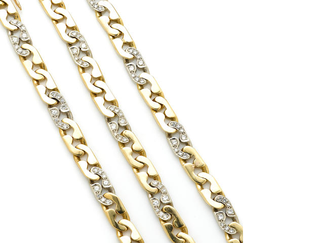 A group of three diamond and bicolor gold bracelets