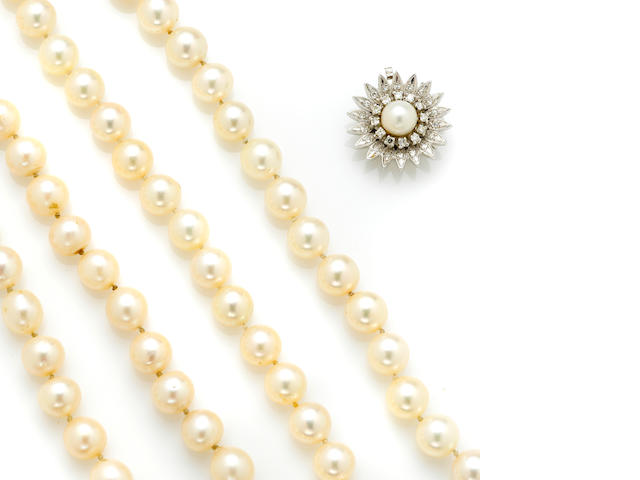 A group of cultured pearl necklaces and one brace;et