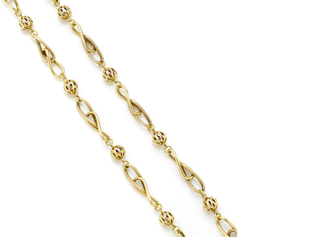 An infinity and ball link necklace