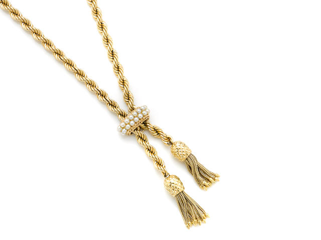 A seed pearl and gold rope chain-tassel necklace with slider