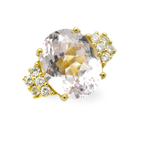A kunzite, diamond and 18k gold ring
