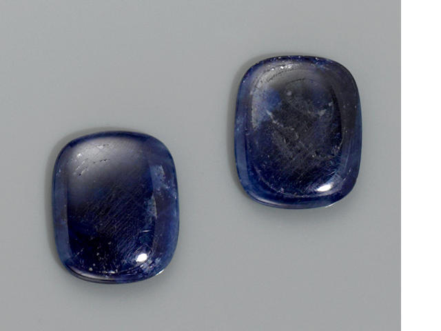 Pair of Large Blue Sapphire Cabochons