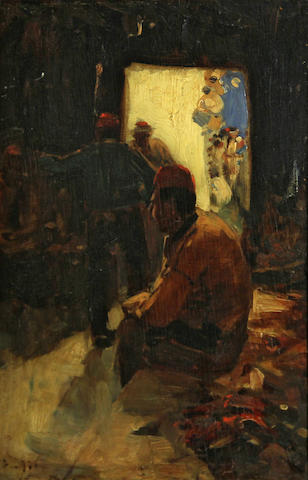 Sir Frank Brangwyn, R.A. (British, 1867-1956) A shoe shop, Constantinople 12 x 8in