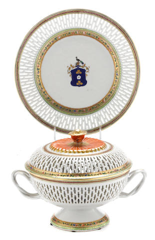 A Chinese export armorial porcelain chestnut basket, cover and stand made for the Dutch market<BR />arms of Van Idsinga<BR />circa 1780