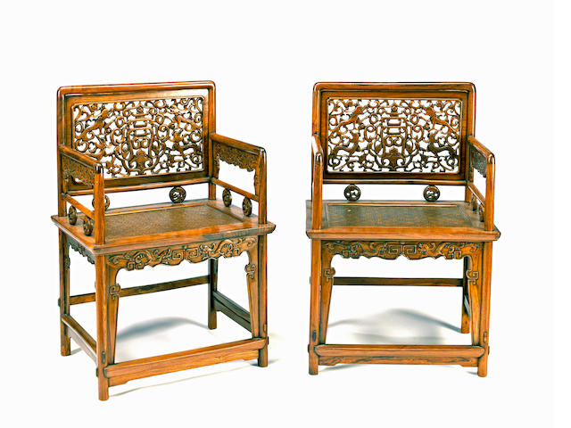 A pair of rose chairs, meigui yi Composed of Qing dynasty elements