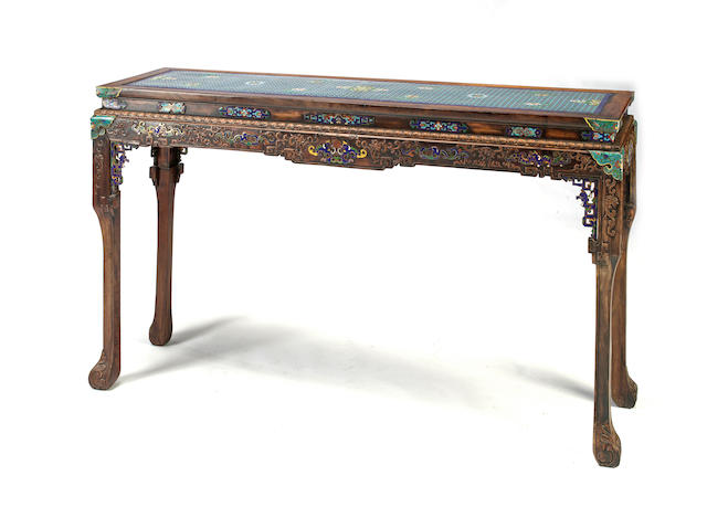 A cloisonné  mounted hardwood altar table