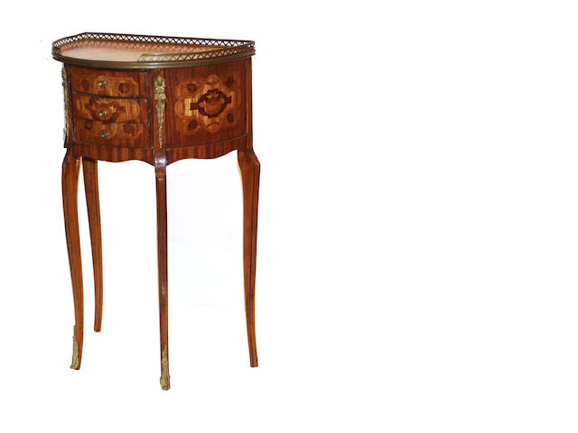 A pair of Louis XVI style marquetry small commodes mid 20th century