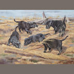 Bill Gillies (American, 1911-2000) Black lab puppies playing, signed and dated ''85', oil on board, 18 x 24in