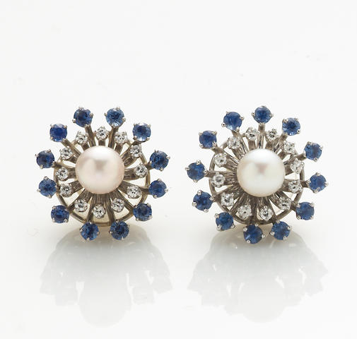 A pair of cultured pearl, sapphire, diamond, and 14k white gold earrings