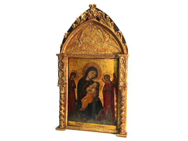 Italian School Madonna and child with adoring angels excluding frame: 21 x 15 1/2in