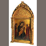 Italian School Madonna and child with adoring angels excluding frame: 21 x 15 1/2in (53.3 x 39.5cm)