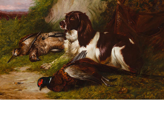Colin Graeme Roe (British, 1850-1910) Spaniel with game 20 x 32 in. (50.7 x 81.3 cm.)