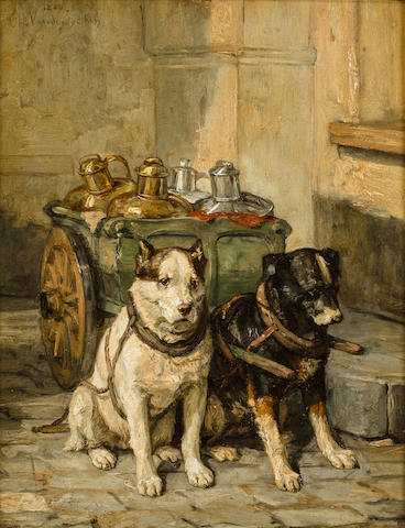 Charles van den Eycken (Belgian, 19th century) Cart dogs 11x 8 1/2 in. (27.9 x 21.6 cm.)