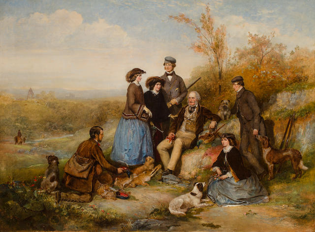 William Powell Frith, RA (British, 1819-1909) The Shooting Party 40 1/4 x 50 in. (102.2 x 137.2 cm.)
