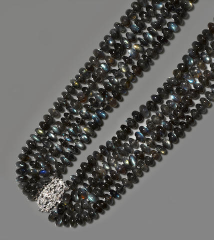 Labradorite and Diamond Bib Necklace