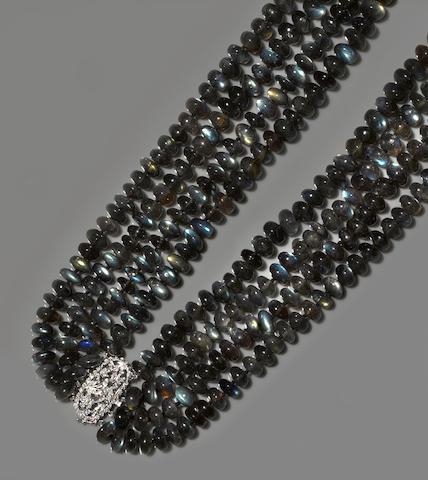 Labradorite and Diamond Bib Necklace