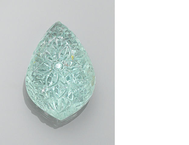 Carved Aquamarine Drop, 83.85 cts.