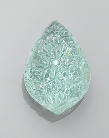 Carved Aquamarine Drop, 83.85 cts.