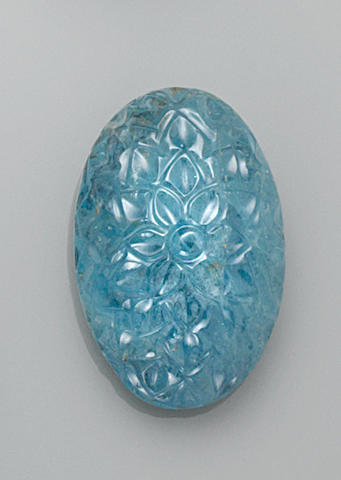Carved Oval Cabochon Aquamarine