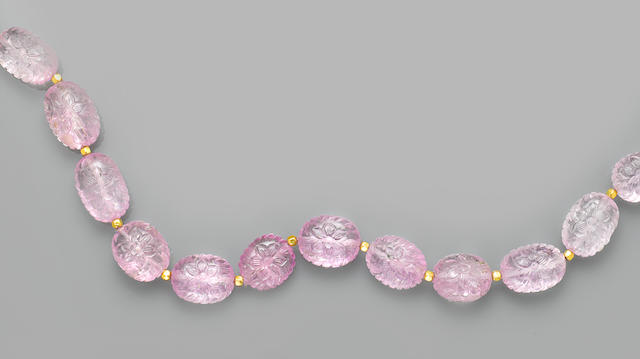 Unusual Carved Kunzite Bead Necklace