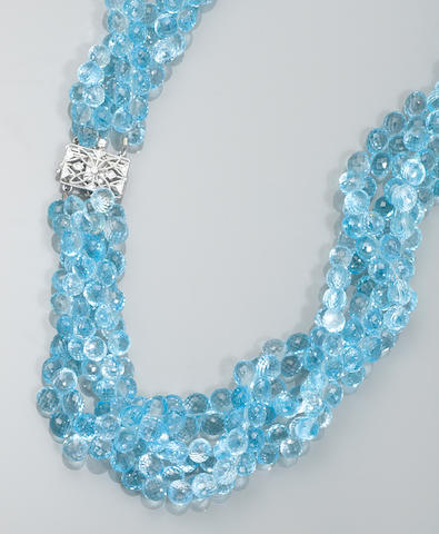 Blue Topaz Bead Necklace