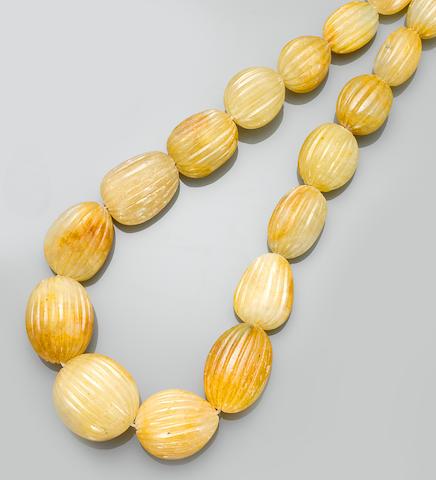 Impressive Yellow Sapphire Bead Necklace