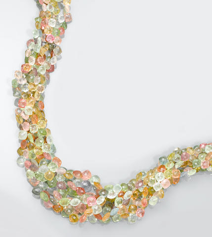 Multi-color Tourmaline Bead Necklace