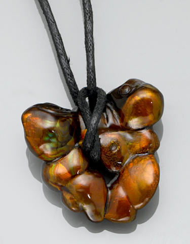 Free-form Carved Fire Agate Pendant