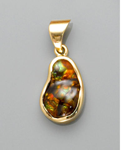 Iridescent Fire Agate and Gold Pendant