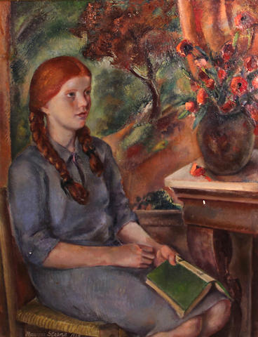 Maurice H. Sterne (American, 1878-1957) Young girl with a book, 1934 41 x 31in