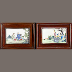 Two framed porcelain plaques  Republic period